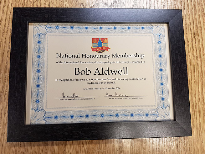Bob Aldwell Awarded Honourary Membership of IAH